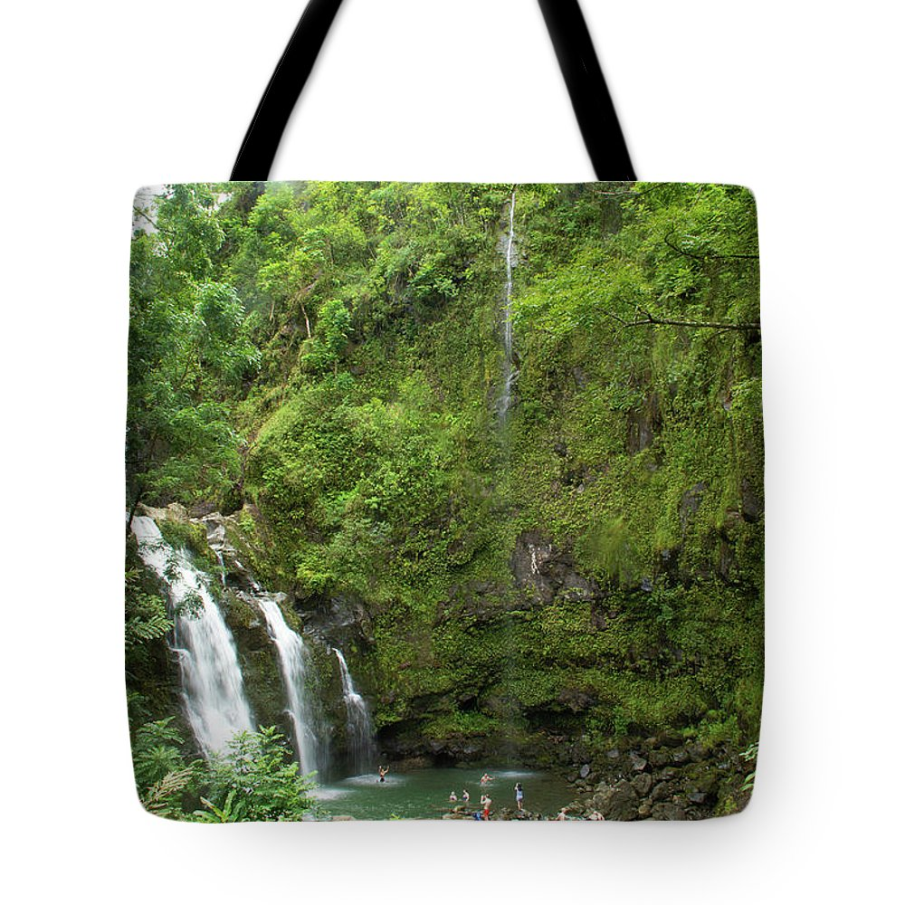 Hawaii Tote Bag featuring the photograph Upper Waikani Falls 1 by Marie Leslie