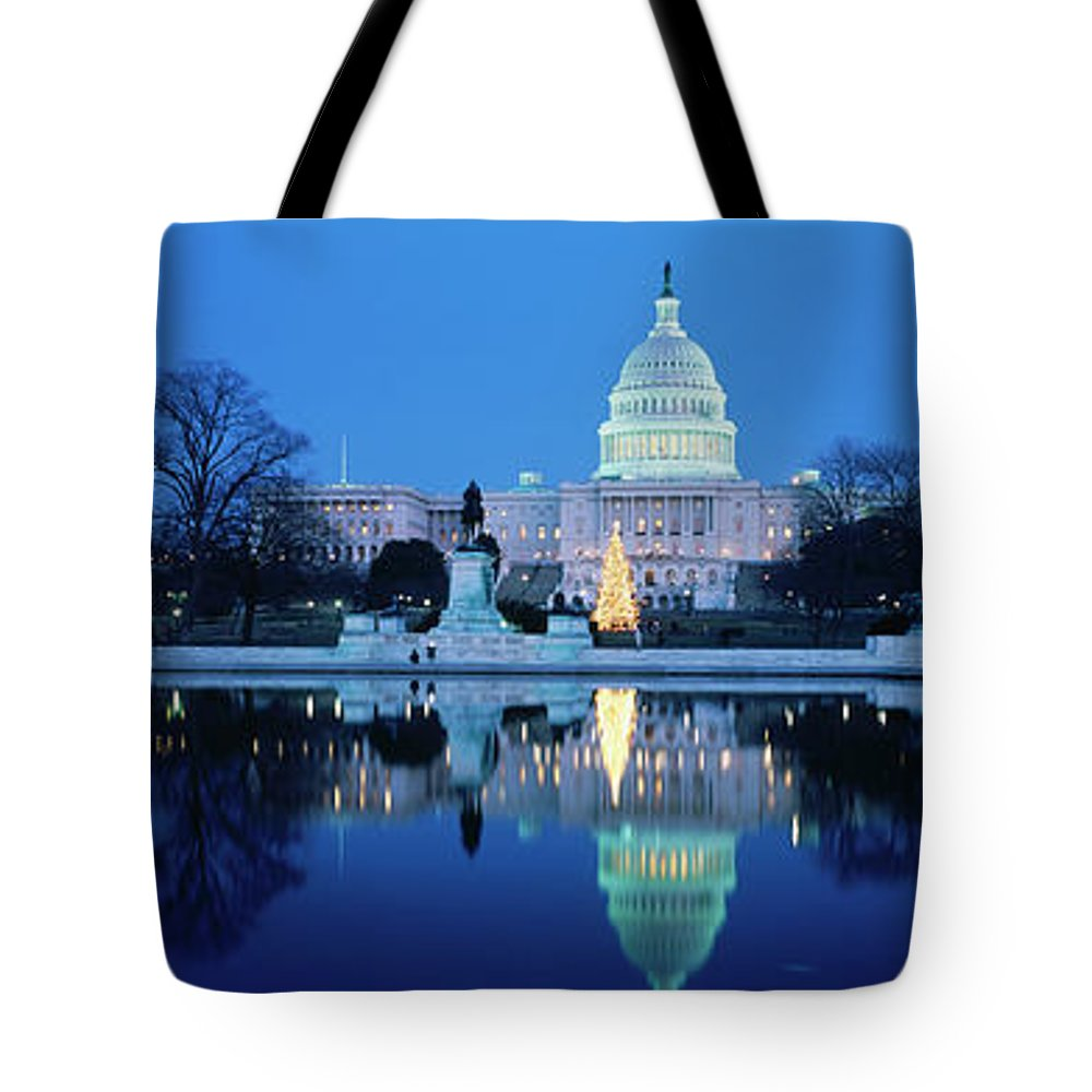 Scenics Tote Bag featuring the photograph Us Capitol And Christmas Tree by Walter Bibikow