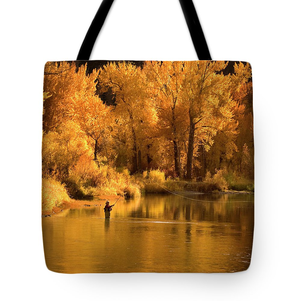 Orange Color Tote Bag featuring the photograph Usa, Idaho, Salmon River, Mature Man by Steve Bly