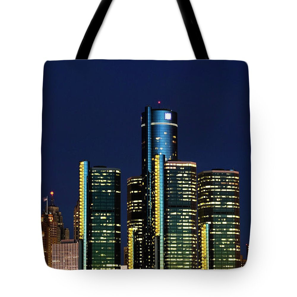 Detroit Tote Bag featuring the photograph Usa, Michigan, Detroit, Skyline & by Walter Bibikow