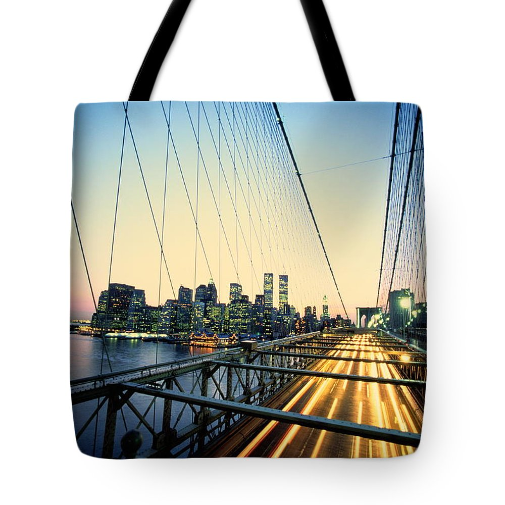 Twin Towers Tote Bag featuring the photograph Usa, New York City, Manhattan, View by Paul Radenfeld