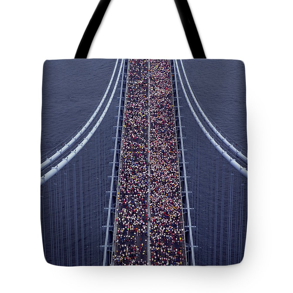 Crowd Tote Bag featuring the photograph Usa, New York City, Marathon Race by Joanna Mccarthy