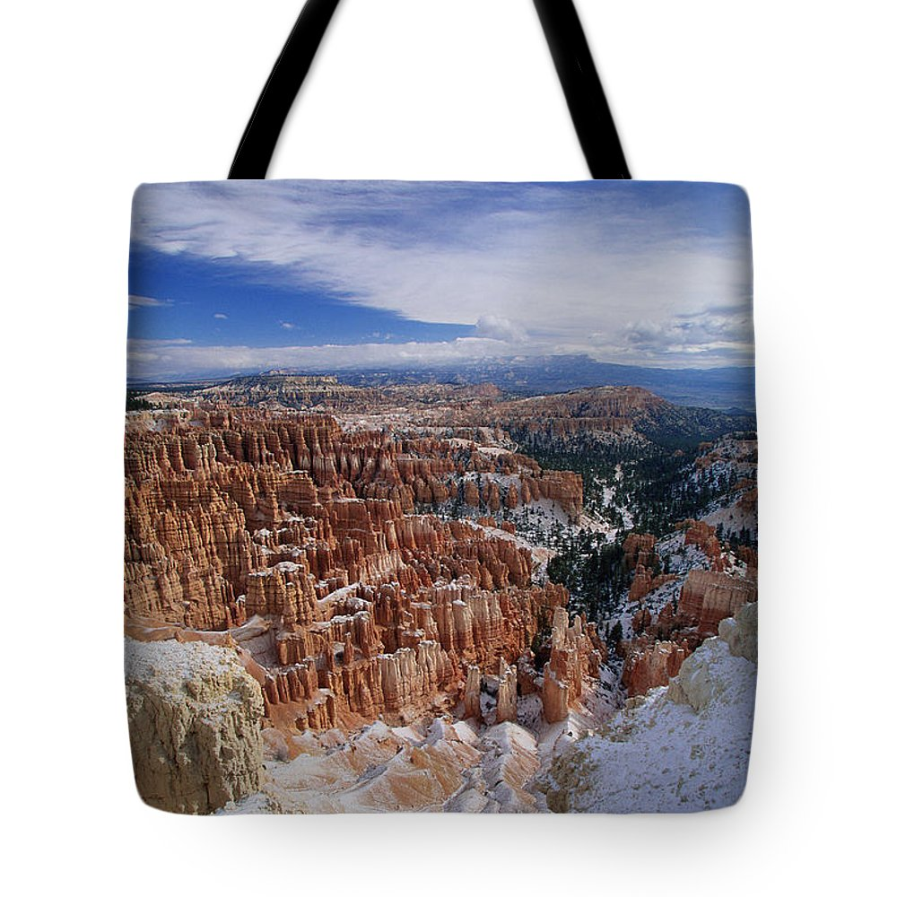 Snow Tote Bag featuring the photograph Usa, Utah, Winter Bryce Canyon by Stan Osolinski