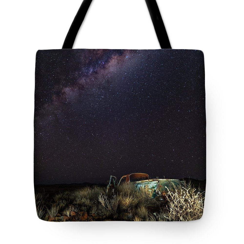 Stars Milky Way Galaxy Night Sky Transportation Truck Tote Bag featuring the photograph Ute by Mark Vegera