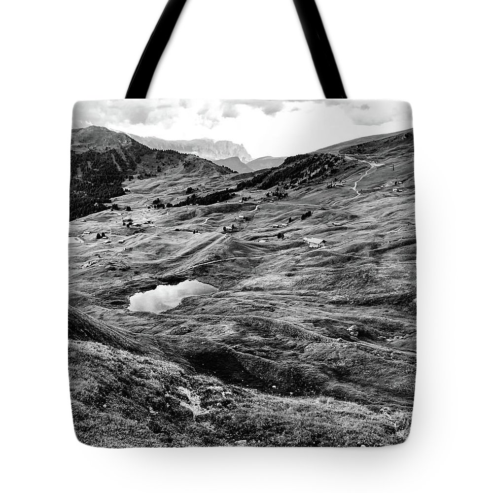 Val Gardenia Tote Bag featuring the photograph Val Gardenia Black And White by Sierra Vance