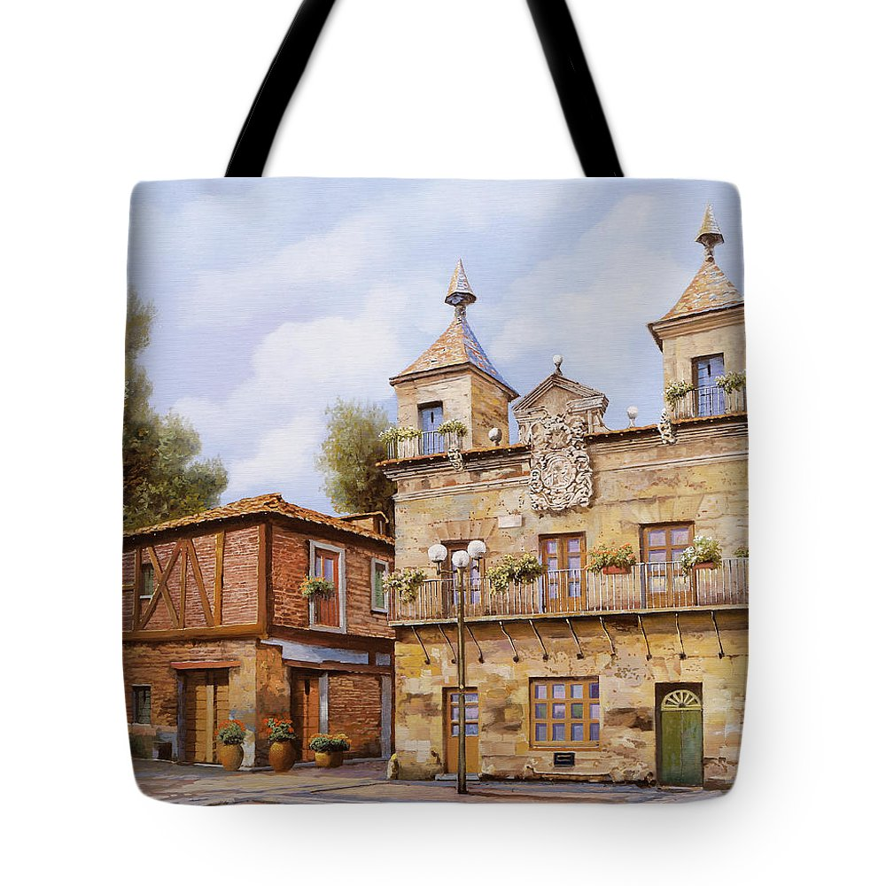 Spain Tote Bag featuring the painting Valderas-spain by Guido Borelli