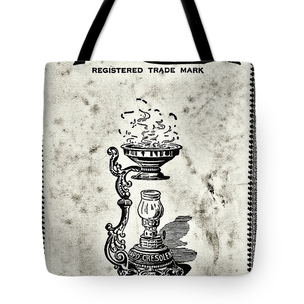 Paul Ward Tote Bag featuring the photograph Vapo-cresolene Vaporizer Original Packaging Black And White by Paul Ward