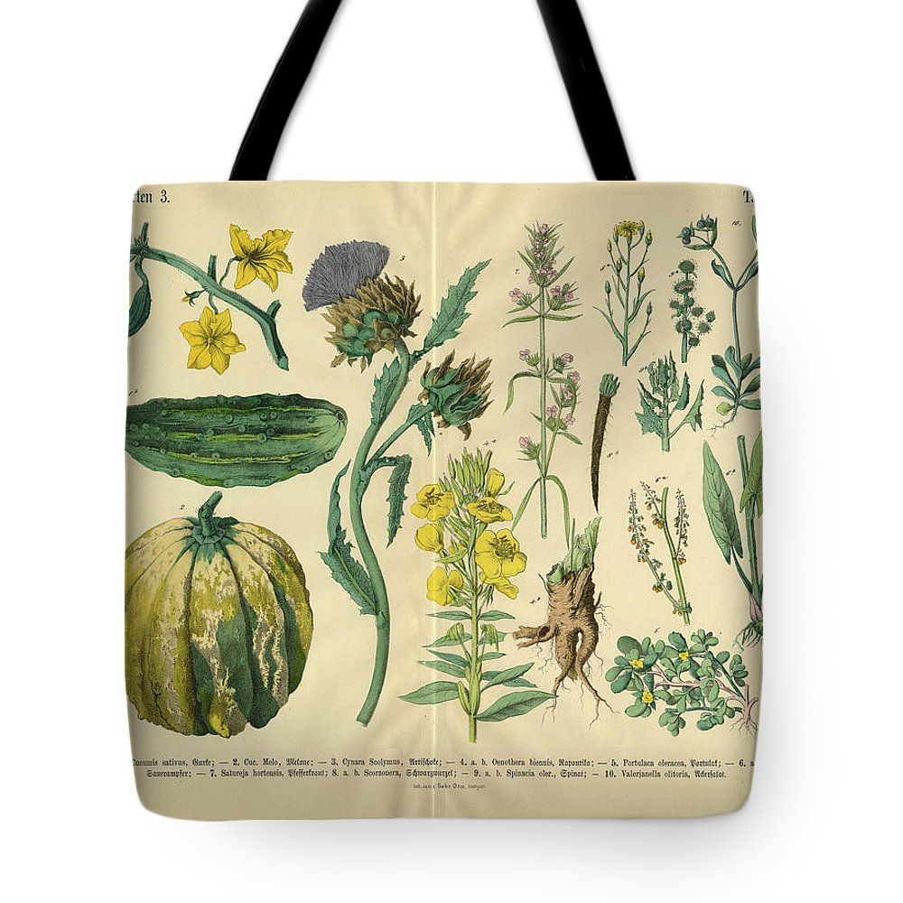 Evening Primrose Tote Bag featuring the digital art Vegetables And Flowers Of The Garden by Bauhaus1000
