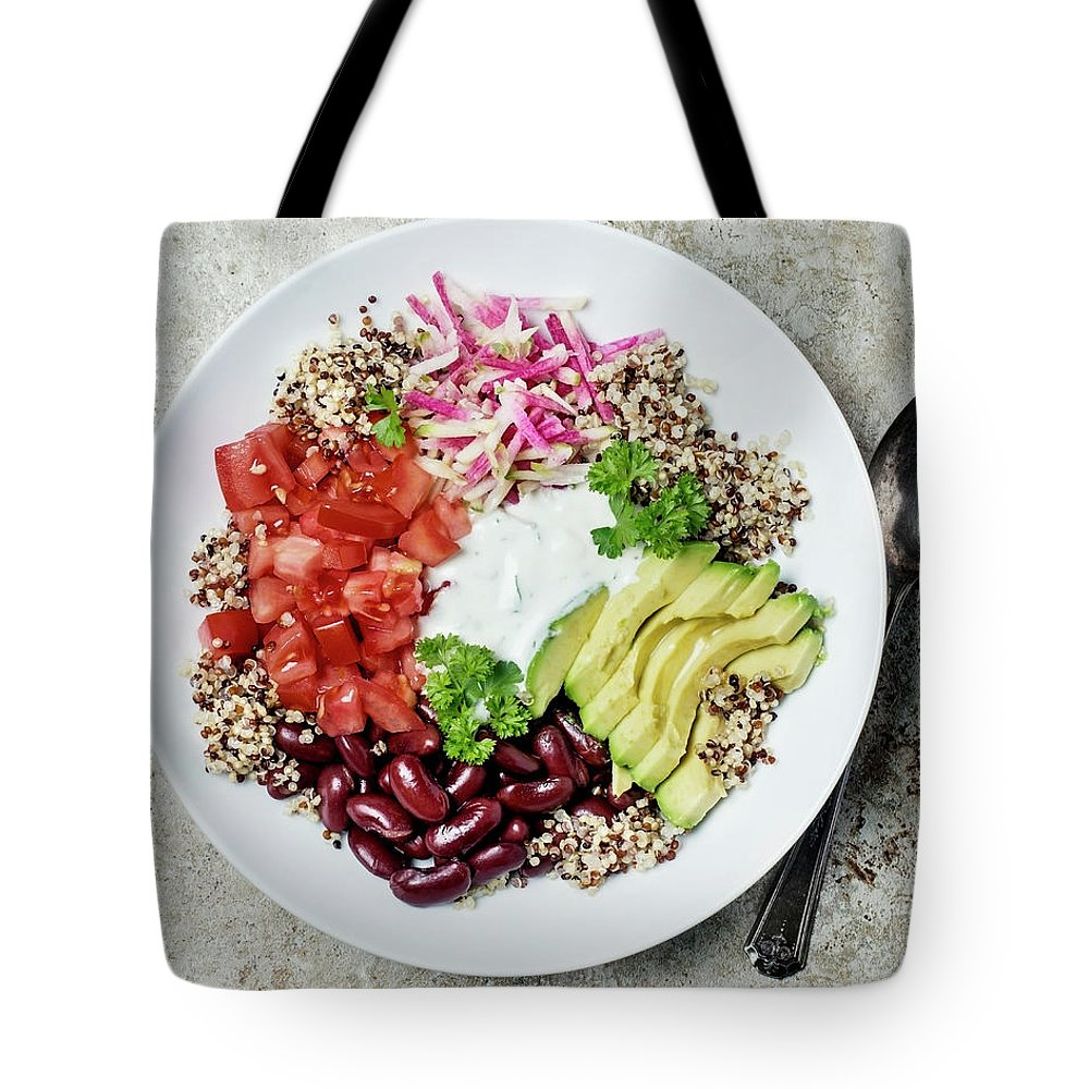 Spoon Tote Bag featuring the photograph Vegetarian Dish by Claudia Totir