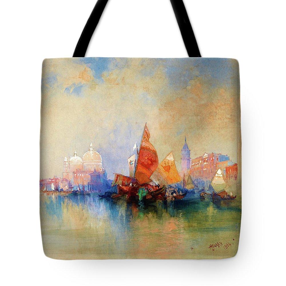 Venice Tote Bag featuring the painting Venice, The Lagoon Looking Toward Santa Maria Della Salute - Digital Remastered Edition by Thomas Moran