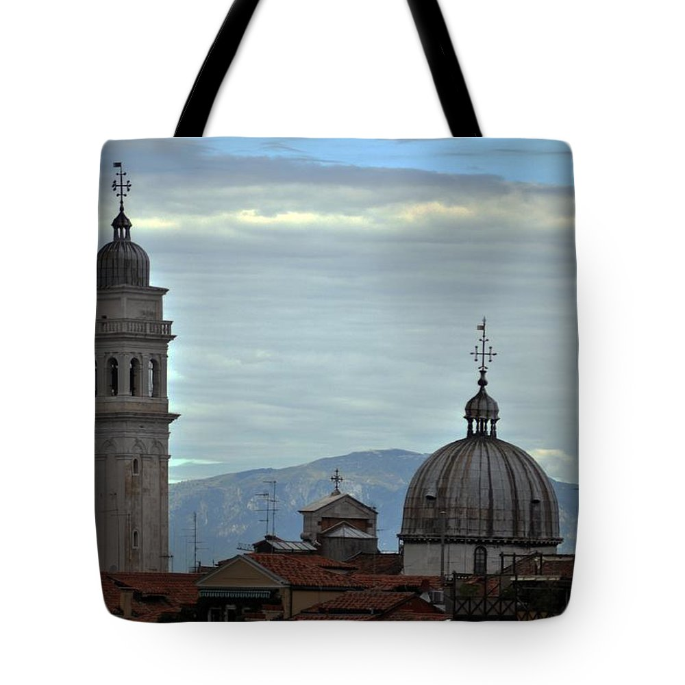 Venice Tote Bag featuring the photograph Venice Tower And Dome by John Hughes