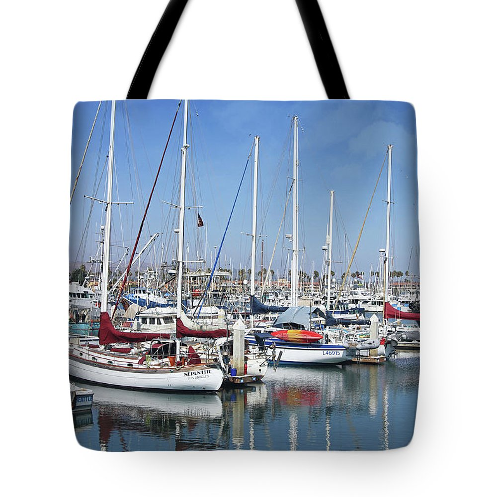 Harbor Tote Bag featuring the photograph Ventura Harbor By Linda Woods by Linda Woods