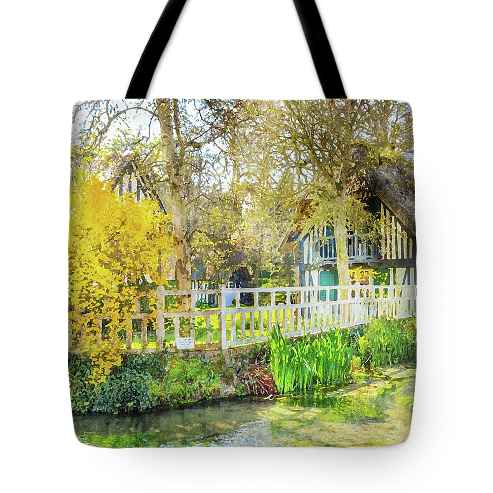 Normandy Tote Bag featuring the painting Veules Les Roses by Delphimages Photo Creations