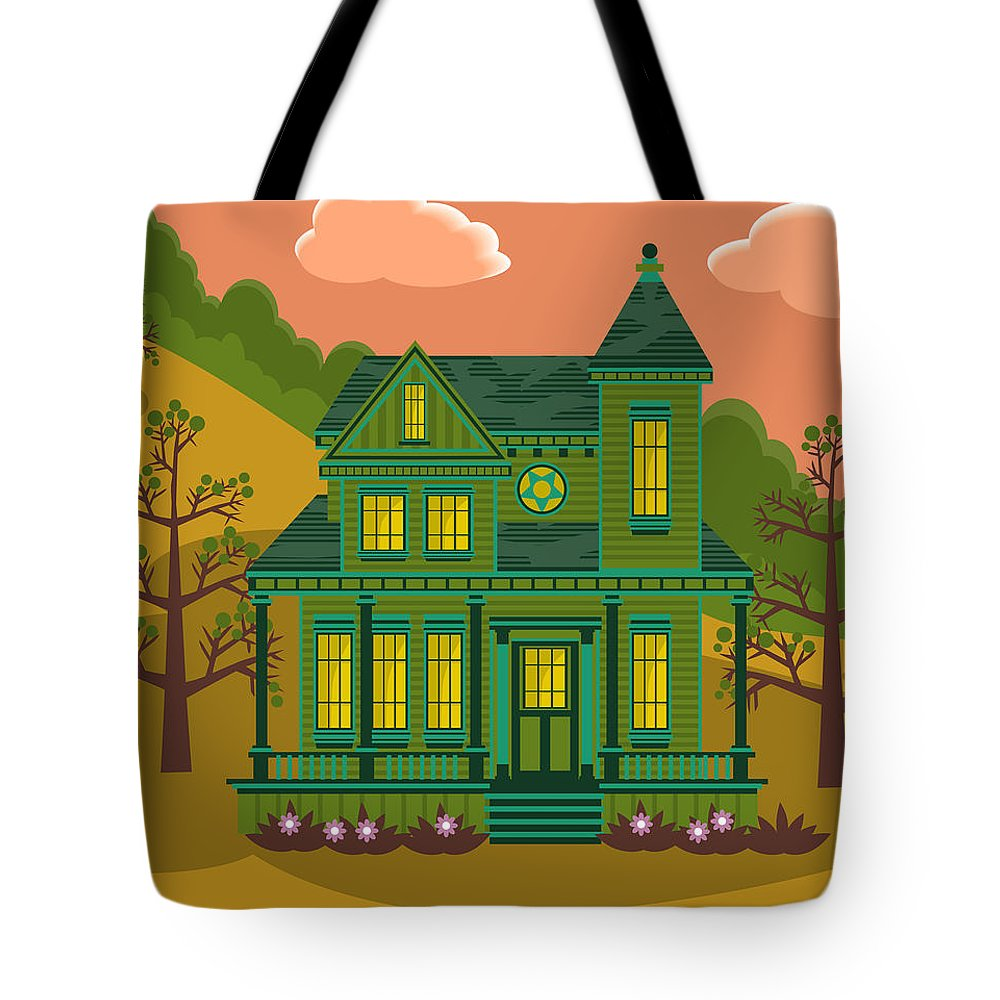 Victorian Style Tote Bag featuring the digital art Victorian House by Sam Morrison