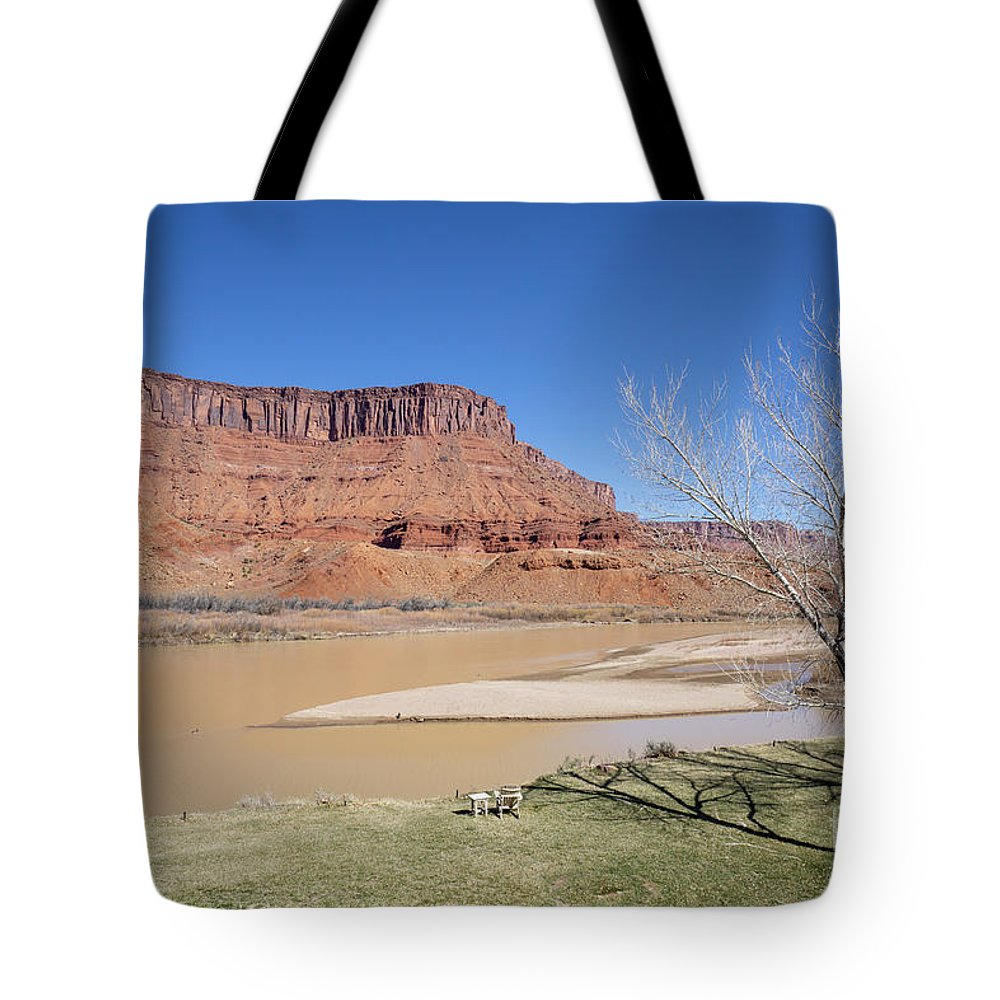 Colorado River Tote Bag featuring the photograph View From A Cabin At Sorrel River Ranch On The Colorado River Ne by William Kuta