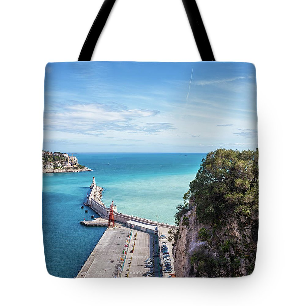 Nice Tote Bag featuring the photograph View From Castle Hill To The Sea In Nice by Artur Bogacki
