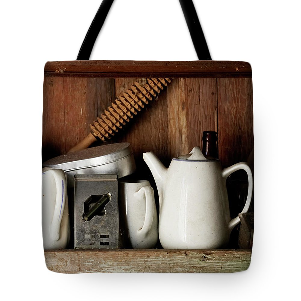 Bohuslan Tote Bag featuring the photograph View Of Old Crockery In Flea Market by Johner Images
