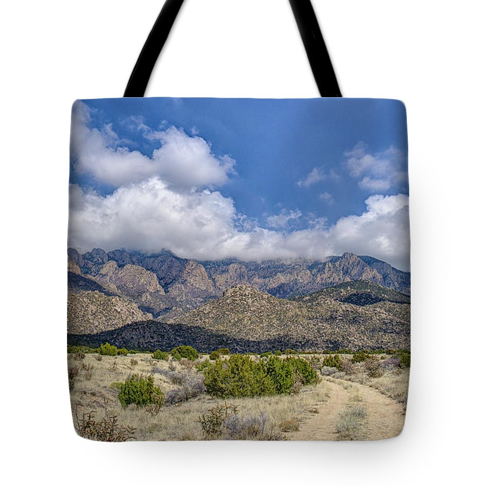 Southwest Usa Tote Bag featuring the photograph View Of Sandia Mountain by Alan Toepfer
