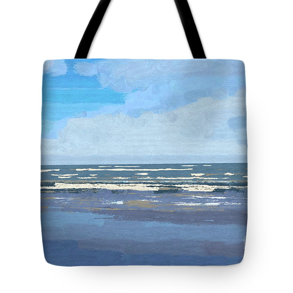 Gulf Tote Bag featuring the painting View Of The Texas Gulf by D Tao
