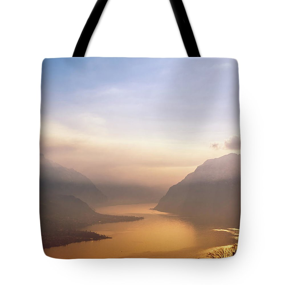 Scenics Tote Bag featuring the photograph View Over Como Lake by Deimagine