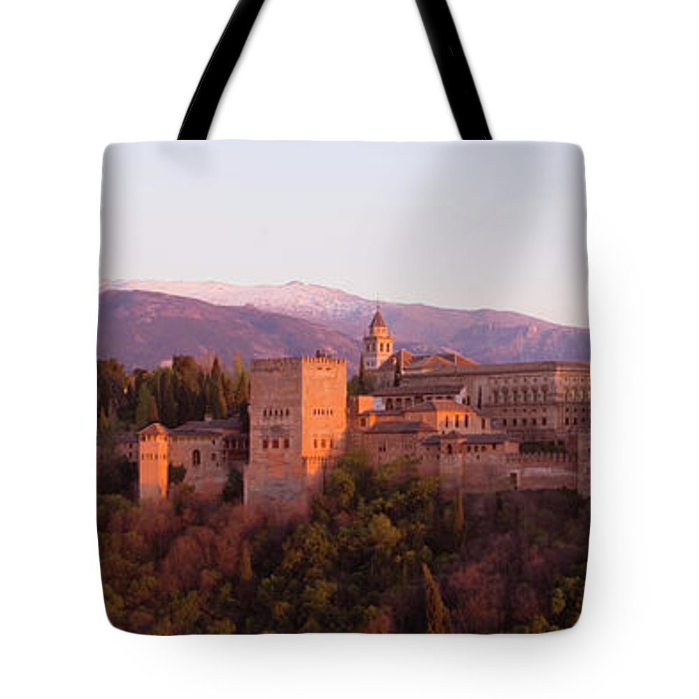 Scenics Tote Bag featuring the photograph View To The Alhambra At Sunset by David C Tomlinson