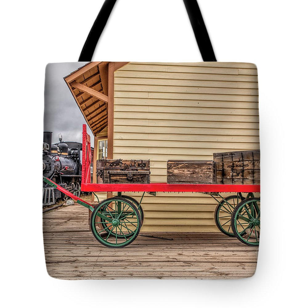 Narrow Gauge Train Tote Bag featuring the photograph Vintage Baggage Cart by Lynn Sprowl