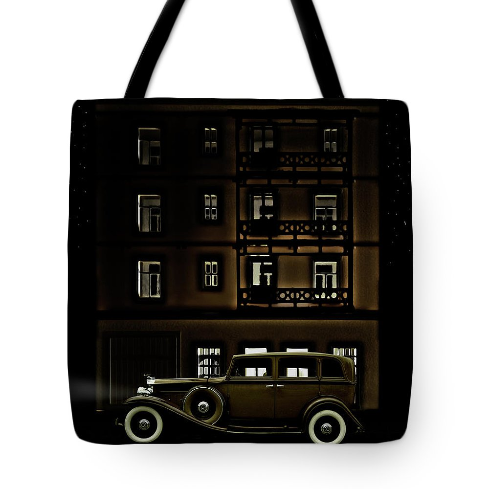 Apartment Tote Bag featuring the photograph Vintage Car Outside Apartment Block At by Michael Duva