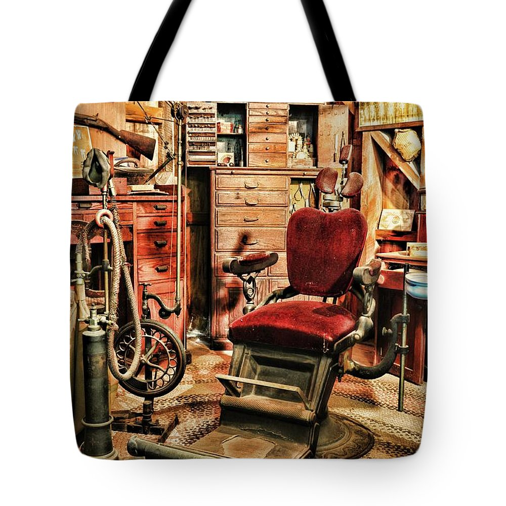 Dentist Tote Bag featuring the photograph Vintage Dentist Office And Drill by Paul Ward