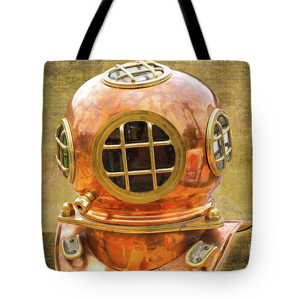 Vintage Tote Bag featuring the photograph Vintage Diving Helmet by Nina Silver