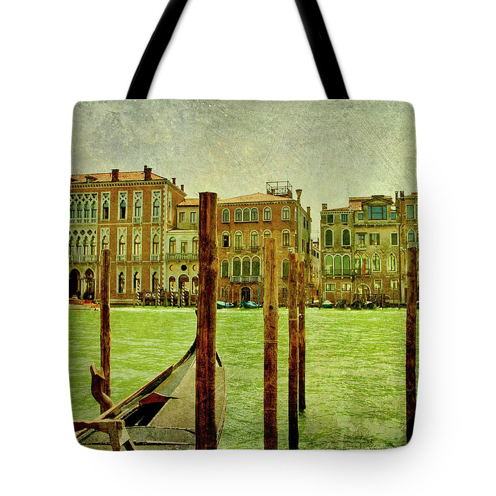 Grunge Tote Bag featuring the digital art Vintage Grand Canal Panorama by Luisa Vallon Fumi