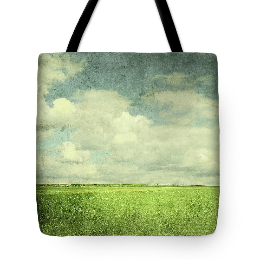 Scenics Tote Bag featuring the photograph Vintage Image Of Green Field And Blue by Jasmina007