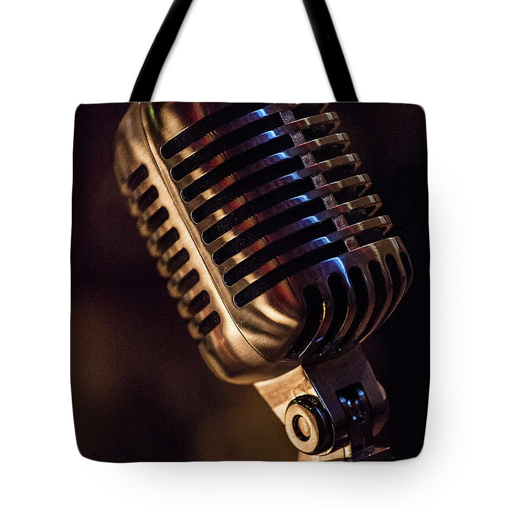Microphone Tote Bag featuring the photograph Vintage Mic by Dave Greenwood