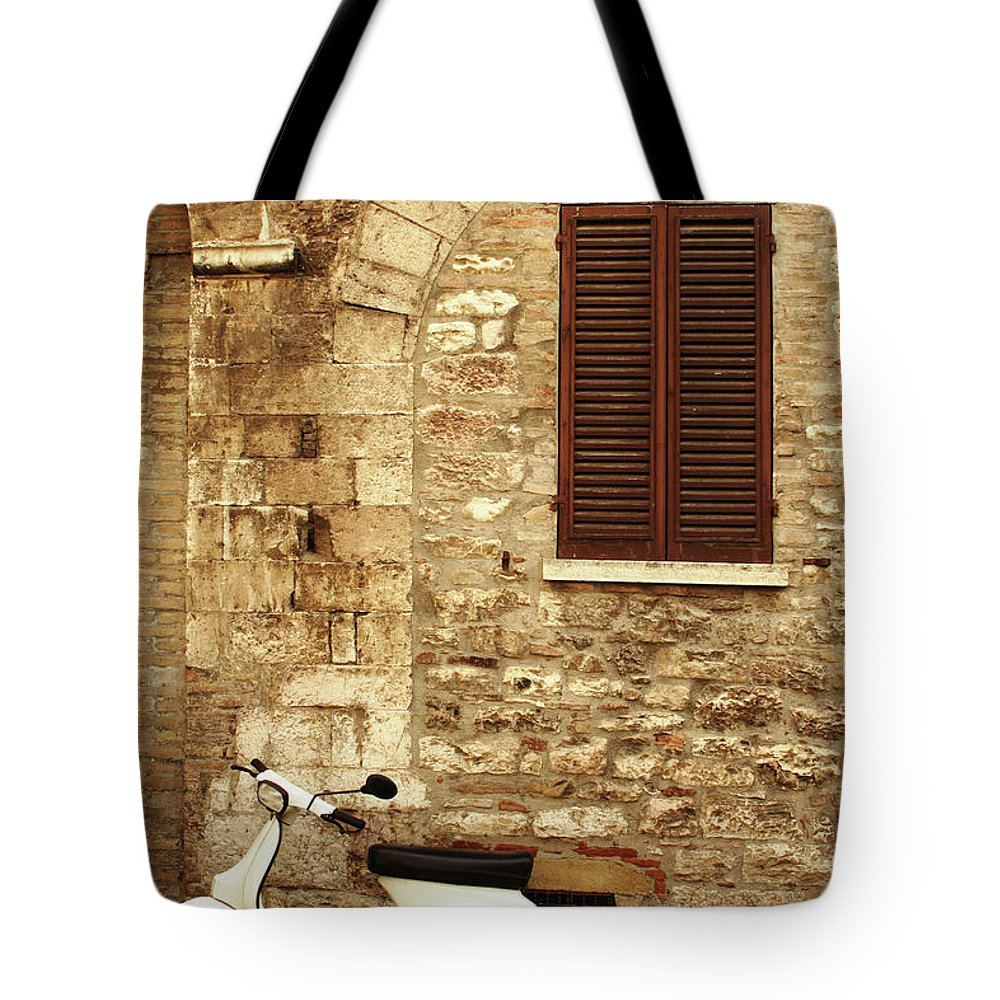 1950-1959 Tote Bag featuring the photograph Vintage Scene Of A Stone Wall, Wooden by Anzeletti