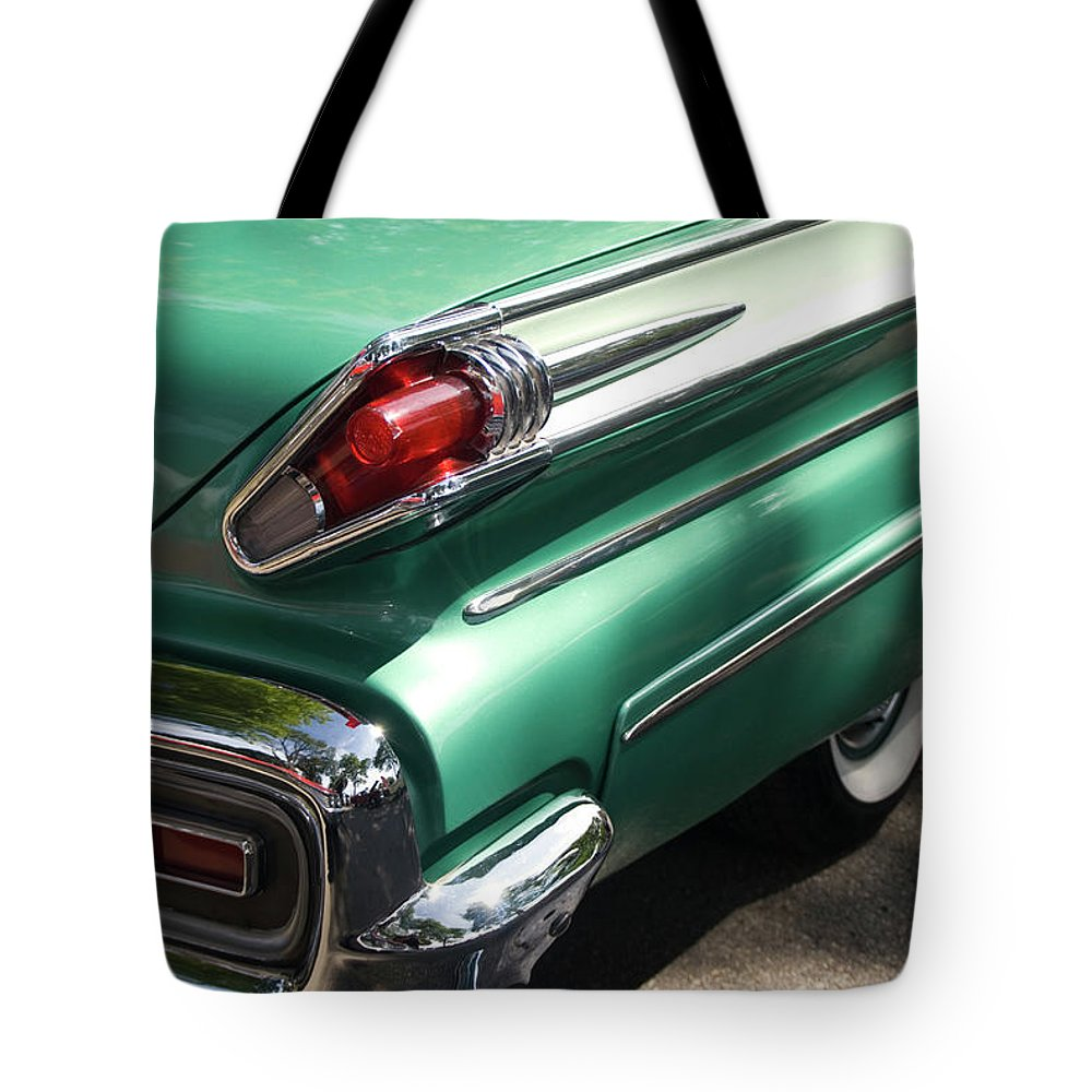 Cool Attitude Tote Bag featuring the photograph Vintage Tail Fin by Sstop