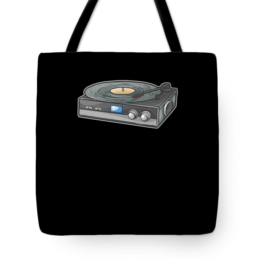 Vintage Tote Bag featuring the digital art Vintage Vinyl Record Player by Tom Giant