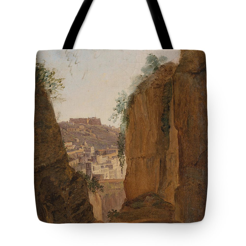 Franz Ludwig Catel Tote Bag featuring the painting Virgil S Tomb Naples by Franz Ludwig Catel