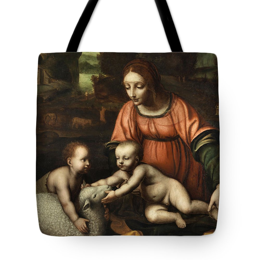 Virgin And Child Tote Bag featuring the painting Virgin And Child by Bernardino Luini