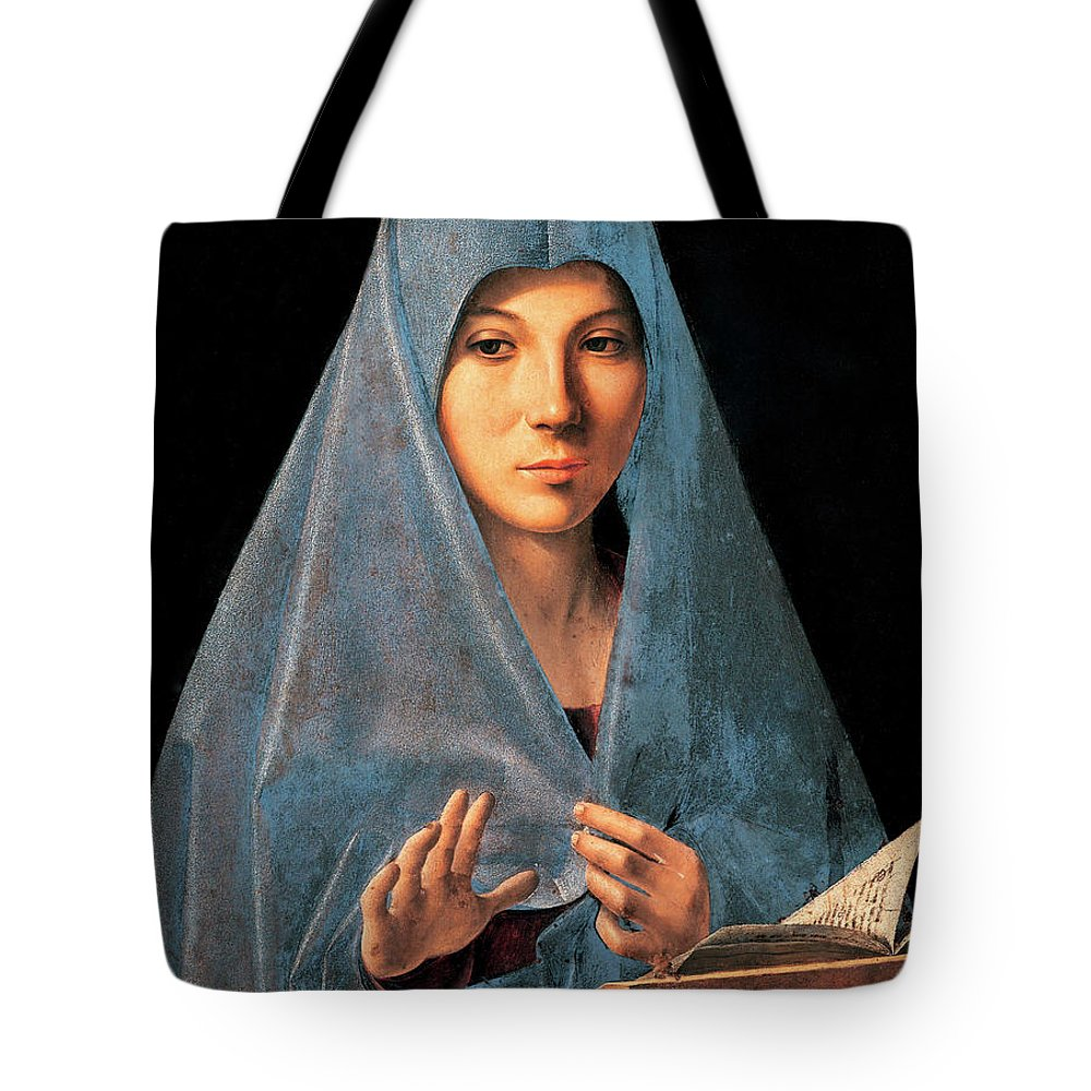 Madonna Tote Bag featuring the painting Virgin Of Annunciation Painting By Antonello Di Antonio Dit Antonello Da Messina by Antonello da Messina