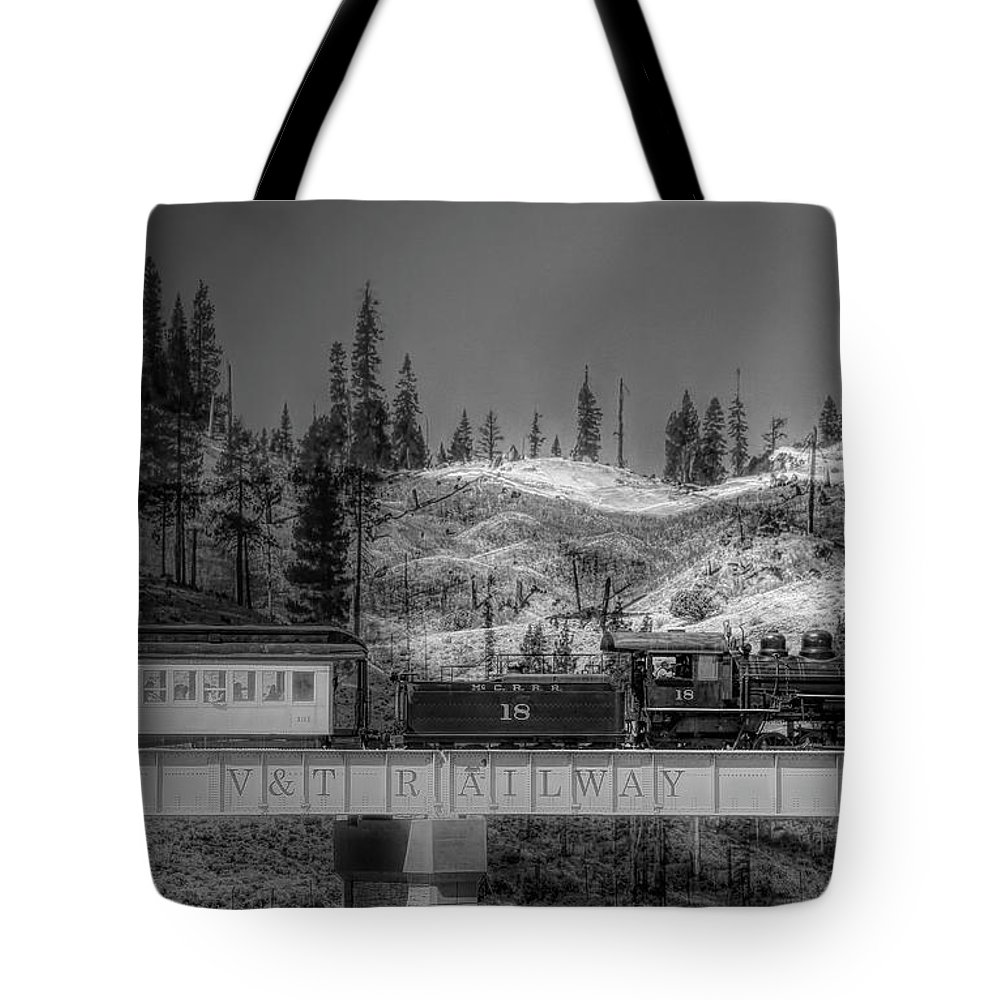 Steam Train Tote Bag featuring the photograph Virginia Truckee Railroad by Donna Kennedy