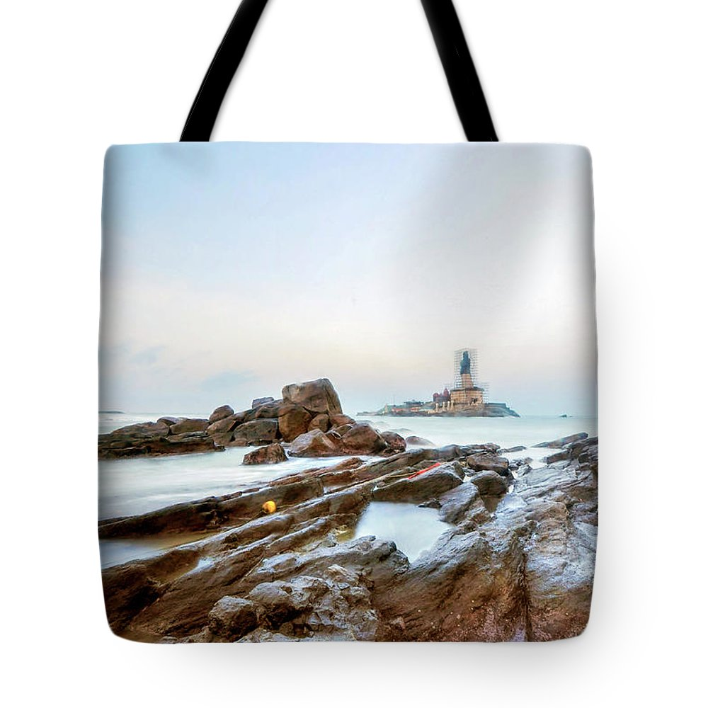 Statue Tote Bag featuring the photograph Vivekanandar Rock & Thiruvalluvar by Yesmk Photography