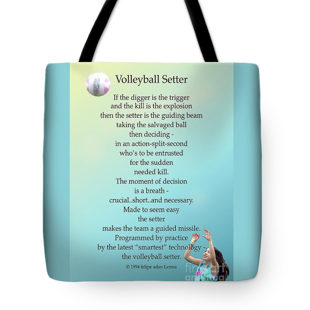 Volleyball Setter Poster Tote Bag featuring the photograph Volleyball Setter Poster by Felipe Adan Lerma