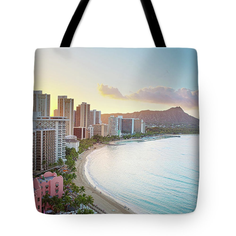 Scenics Tote Bag featuring the photograph Waikiki Beach At Sunrise by M Swiet Productions