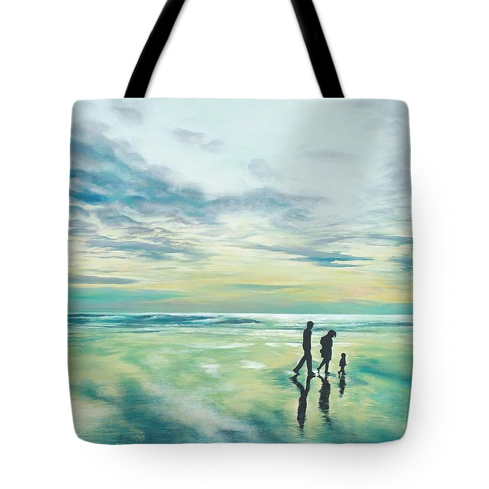 Landscape Tote Bag featuring the painting Walk At Sunset by Michelle Marsia