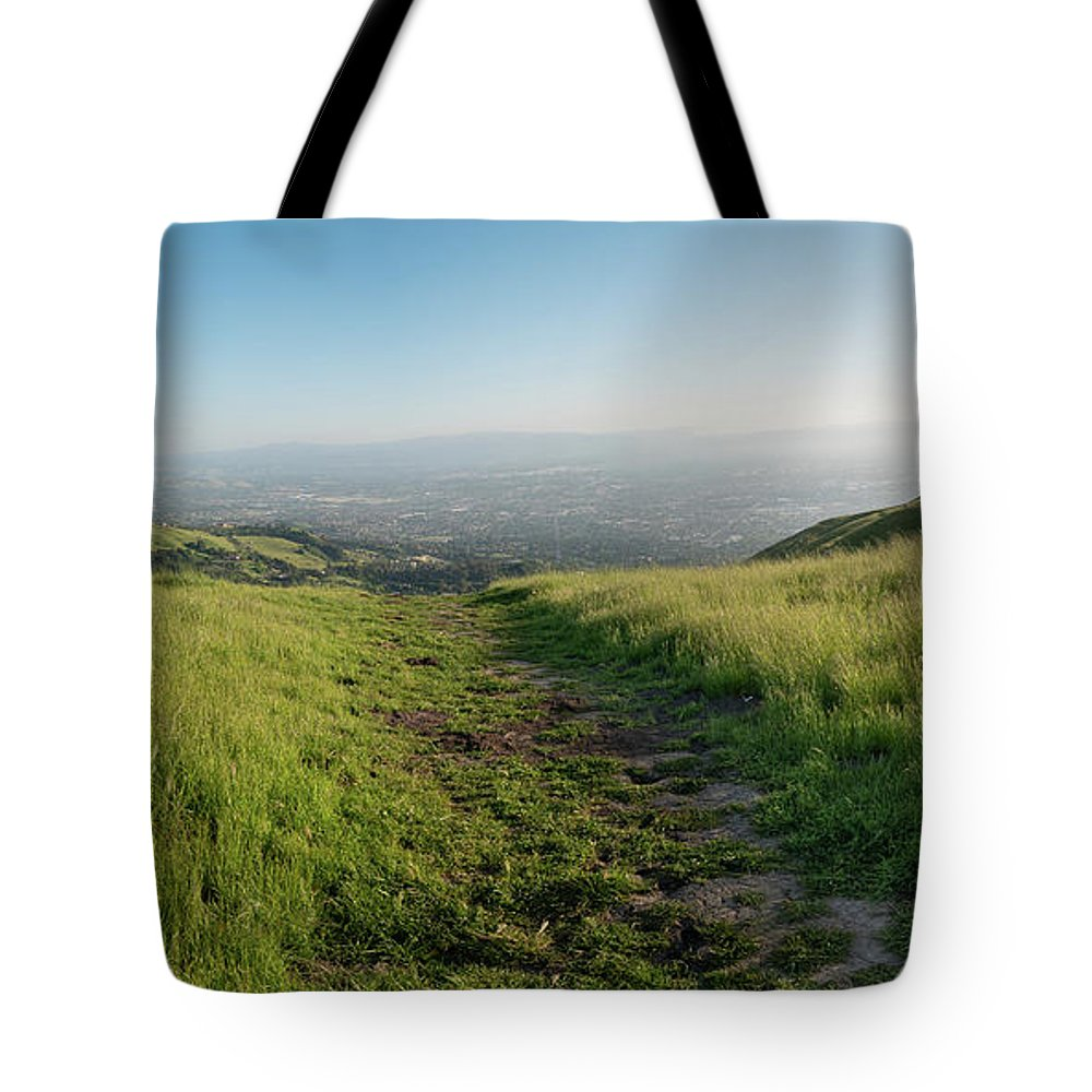 California Tote Bag featuring the photograph Walking Downhill Large Trail With Silicon Valley At The End by PorqueNo Studios