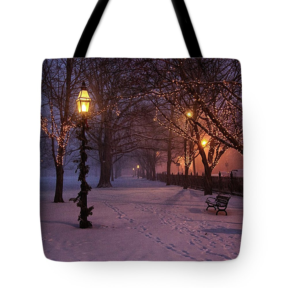 Salem Common Tote Bag featuring the digital art Walking The Path On Salem Ma Common by Jeff Folger