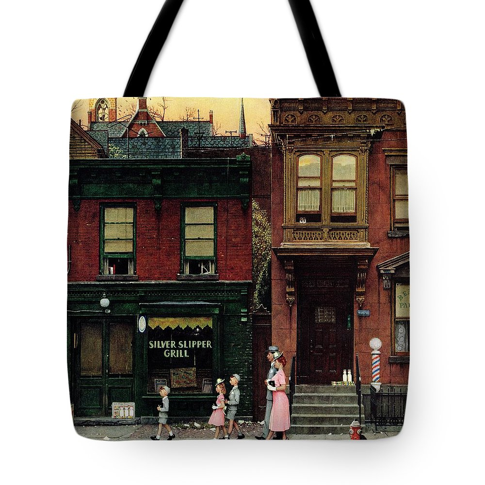 Churches Tote Bag featuring the drawing Walking To Church by Norman Rockwell