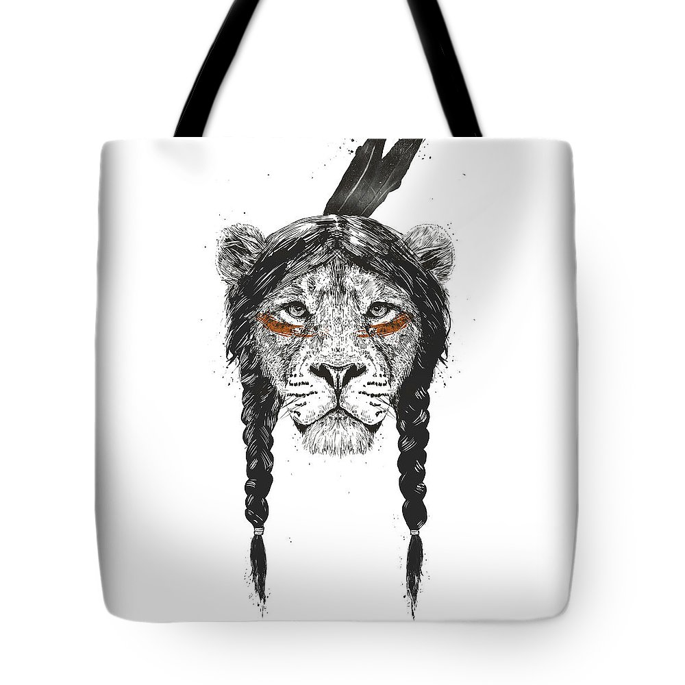 Lion Tote Bag featuring the drawing Warrior lion by Balazs Solti