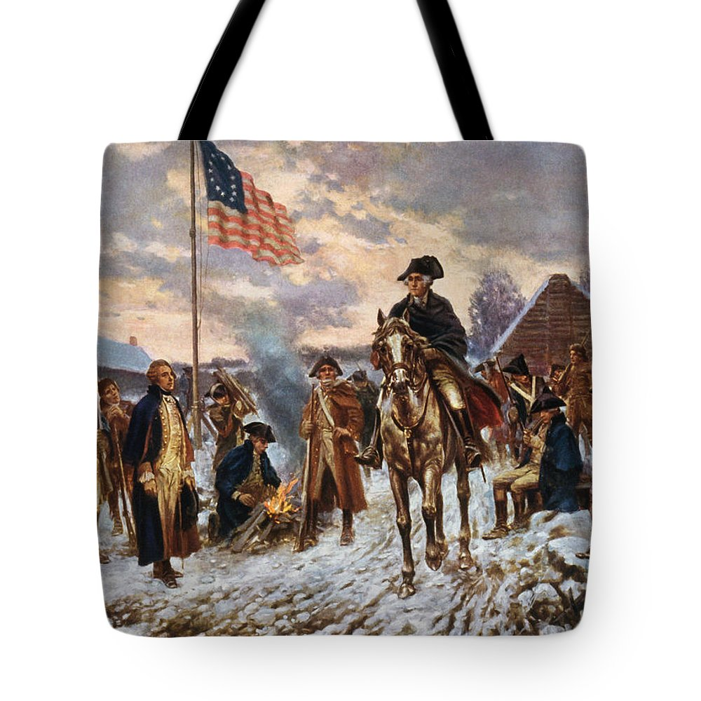 George Washington Tote Bag featuring the painting Washington at Valley Forge by War Is Hell Store