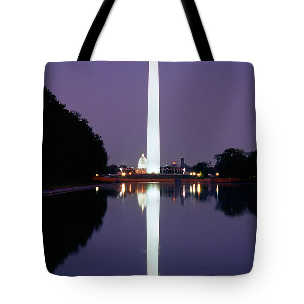 Tranquility Tote Bag featuring the photograph Washington Monument, Washington Dc by Brand X Pictures
