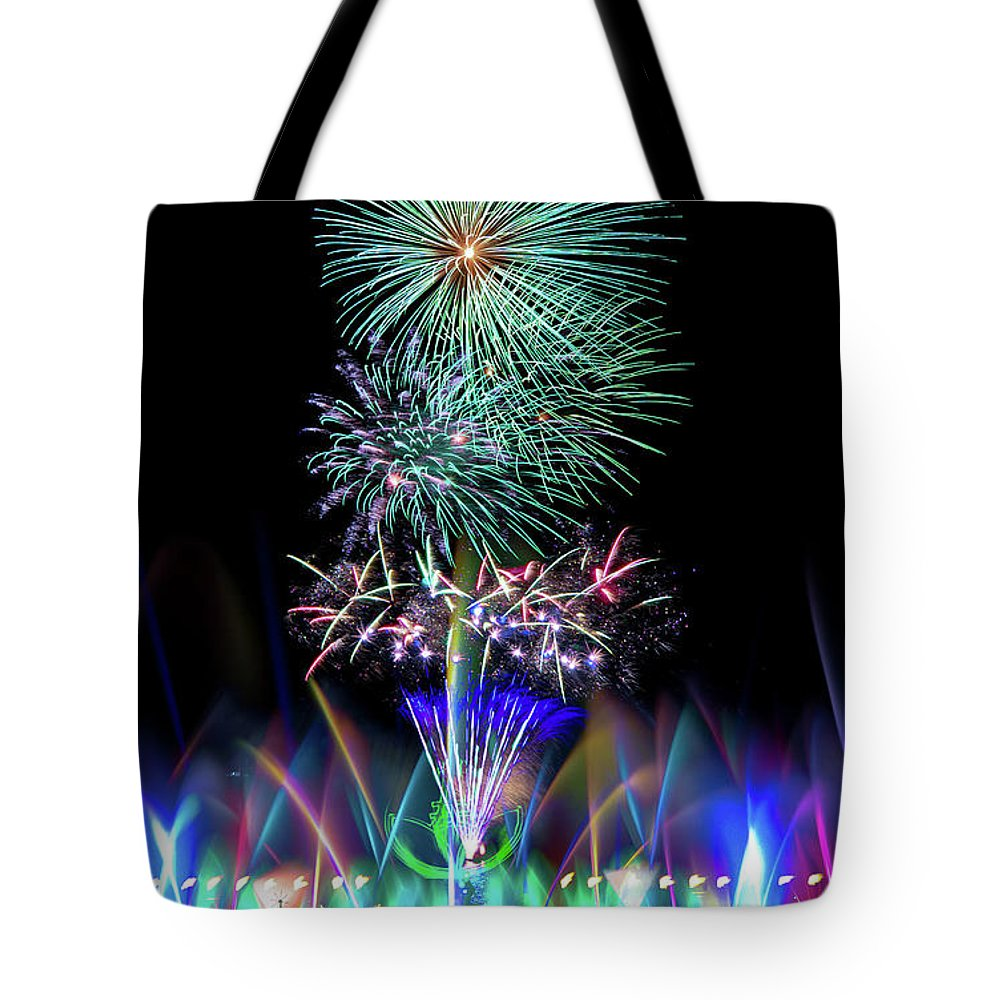 Firework Display Tote Bag featuring the photograph Water Dancing Festival by Taiwan Nans0410